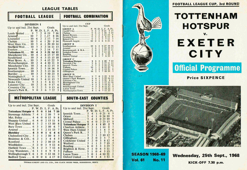 Programme | Tottenham Hotspur v Exeter City | 1968
