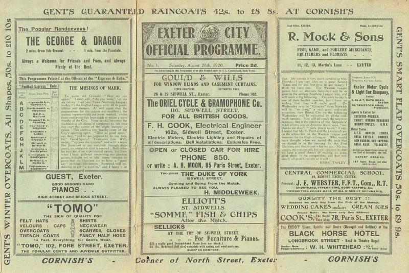 Exeter City v Brentford 1920
