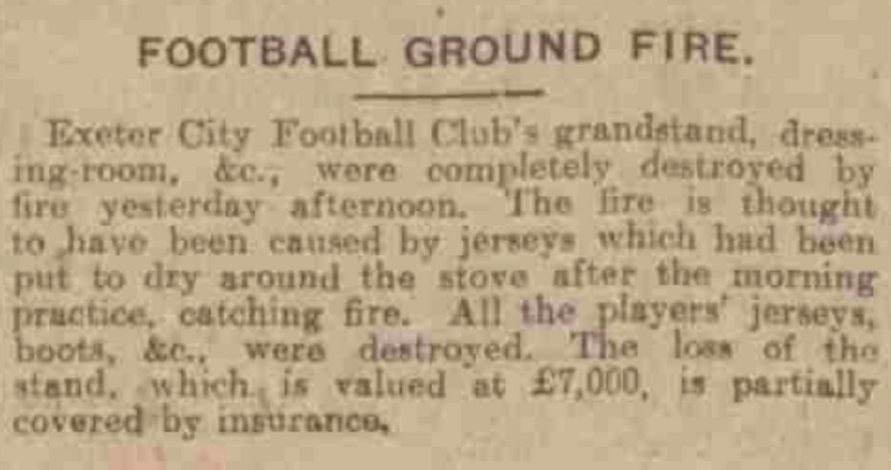 Old Grandstand Photo's | Report of Fire (1926)